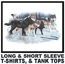 AWESOME WOLVES IN WOLF PACK IN SNOW WOODS SCENE T-SHIRT   WS1