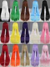 80CM Long Straight Cosplay Anime Party Wig 15Colors Free shipping + Free Wig Net