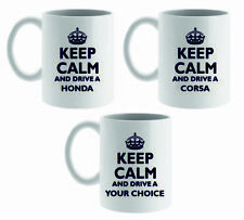 KEEP CALM AND DRIVE A .. MUG/CUP,COASTER, ASSTD VEHICLES OR PERSONALISE YOUR OWN