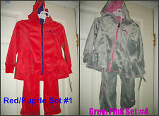 * NWT NEW GIRLS PUMA TRACKSUIT Velour WINTER OUTFIT SET 2T 5 6x