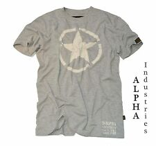 T-Shirt by Alpha Industries *STAR Tee grey heather* Star vintage Patch *NEU
