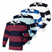 Front Row Co Sewn Stripe Long Sleeve Rugby Shirt Top Sport Leisure Wear FR08M