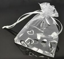 Premium Quality Heart Organza Gift Bags Wedding Favours / Various Colours