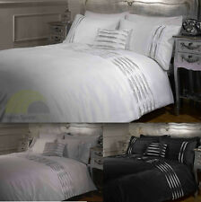 Crystal Diamante Detail Duvet Quilt Cover Bed Sets - White, Silver, Black