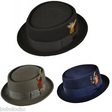 Black PORK PIE Felt 100% Wool Trilby Hat Breaking Bad Heisenberg mens fedora ska