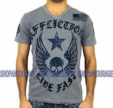 AFFLICTION Live Fast A9128 NEW Men`s Slub V-Neck T-shirt Silver