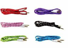 Braided 3.5mm Male M/M Stereo Audio AUX Auxiliary Cable Cord PC MP3 CAR NEW