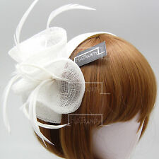 Sinamay Ladies Wedding Blossom Bridal Feather Hairband Cocktail Hat Fascinators