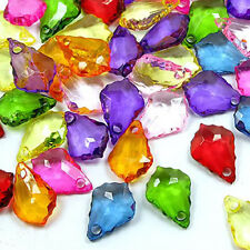 Acrylic Faceted Teardrop Beads, Mix Icy Colors