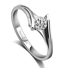 Solid Sterling Silver Clear CZ Comfort Fit Lady's Ring Size 5 6 7 8 PR202812