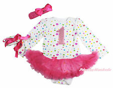 Pink Sparkle 1ST White Rainbow Dots L/S Bodysuit Hot Pink Baby Dress NB-18Month