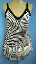 COOL flowing Black & White Striped singlet with gathers size 12 to 28 new
