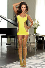Lime Fence Net Garter Chemise. Sexy Lime Lingerie. Sexy Neon Yellow Lingerie.