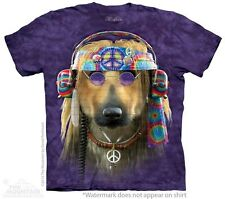 Big Face Groovy Dog Hippie T-Shirt by The Mountain. Giant Dog Head Tees S-3XL