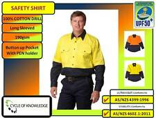 100% Cotton Drill Safety Workwear; Long Sleeve Shirt; 190gsm; Sizes S to 7XL