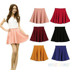 Women's Lady's Candy Color Waist Pleated Jersey Skater Flared Mini Skirts B75U