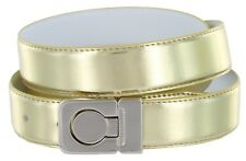 Leather Dress Belt, Metallic Gold with Nickel Plated Channel Buckle