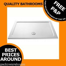 White Rectangle 40mm High Low Profile Stone Resin Shower Tray Slimline