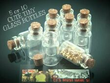 5 or 10 x CUTE MINI SMALL CORK STOPPER GLASS BOTTLES VIALS JARS  size 23 x 13mm