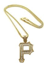 """ICED OUT WIZ KHALIFA PITTSBURGT """"P"""" PENDANT 3mm/24"""" BOX CHAIN NECKLACE MZ61BX"""