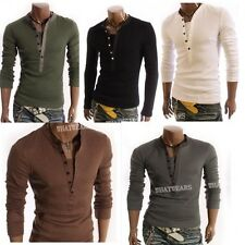 Men's Casual Long Sleeve Shirt Slim V Neck Tee Tops 5 Colors M-XL A0025 GBW