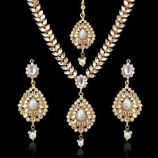 Sparkling Tear Drop with Kundan Leaves Indian Mughal Ethnic Necklace Set d7