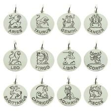 925 STERLING SILVER PERSONALISED ZODIAC STAR SIGN ASTROLOGY DISC PENDANT GIFT