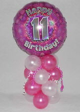 11th  BIRTHDAY -AGE 11 - GIRLS PINK -  FOIL BALLOON DISPLAY - TABLE CENTREPIECE
