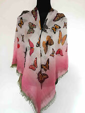 Fashion Butterfly Print Scarf Square Hijab Shawl Wrap Gift Ladies Accessories