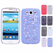 Hollow out Chap Crack Rose Hard Snap Case Cover For Samsung Galaxy S3 SIII i9300