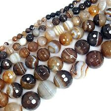 """Faceted Coffee Striated Agate Round Beads Pick Size 15"""""""