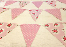Handmade Bunting Floral & Polka dot Shabby chic PVC Flags with Ribbon 40ft