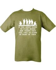 Behind Our Troops Military Army Green T shirt