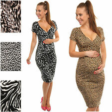 Happy Mama Maternity Pregnancy Animal Zebra Leopard Print Jersey Dress 573a