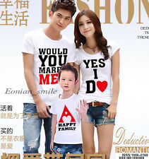 New Lovers MOM DAD Kids Family Yes I do T-Shirt Set Lycra Stretch Cotton QYA6207