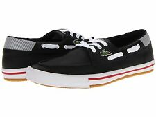 Lacoste Sculler Low SSR  Men's Sport Casual Leather Driving Boat SHOES Black/Red