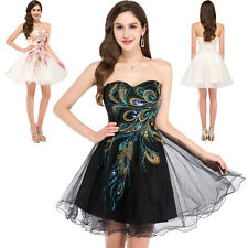 Black Tulle Peacock Short Cocktail/Prom dress/Party/Evening/Ball/Homecoming 2-16