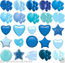 BLUE BALLOONS Various Latex Foils Hearts All shapes shades Choose your amount