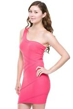 NEW SEXY ONE SHOULDER TEXTURED STRETCH BODYCON CLUBBING MINI DRESS RED OR BLACK