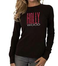 Women's Printed HOLLYWOOD CALIFORNIA Thermal Long Sleeve Crew Neck T-Shirt  Top