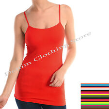 LADY LONG ADJUSTABLE CAMIS SPAGHETTI  STRAP STRETCHY SOFT LONG TANK TOP  #T01