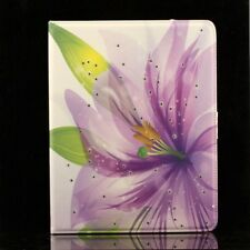 Flip Man Made Leather Purple Flower Case Cover Stand Pouch for Apple IPad