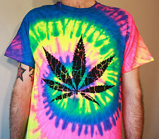 Weed Cannabis Tie Dye T shirt Festival Madchester Hippy Psychedelic Rave Smoke