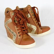 CHESTNUT Glitter Leatherette High Top Lace Up Wedge Sneaker