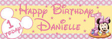 PERSONALISED MINNIE MOUSE 1ST FIRST BIRTHDAY HAPPY BIRTHDAY PARTY BANNER PVC