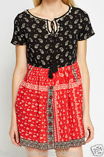 RIVER ISLAND Womens Ladies Black & Red Paisley Gypsy Skater Party Dress 6 - 18