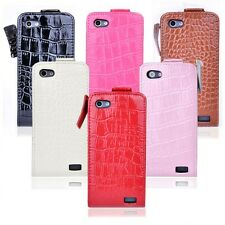 New On Sale Luxury Patent Leather Flip Alligator Hard Case Cover For HTC One V