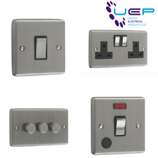 Brushed Chrome Sockets and Switches Black Trim (Windsor)