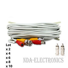 100ft BNC Video Power Cable for CCTV Security Camera System Lot 2 4 6 8 10 White