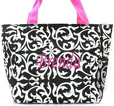 Personalized Damask Pink Tote Beach Bag Diaper Bag FREE Monogram Embroidery Name